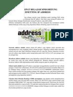 Cara Cepat Belajar Mneghitung Subnetting Ip Address