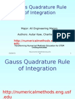 Gauss Quadrature Integration