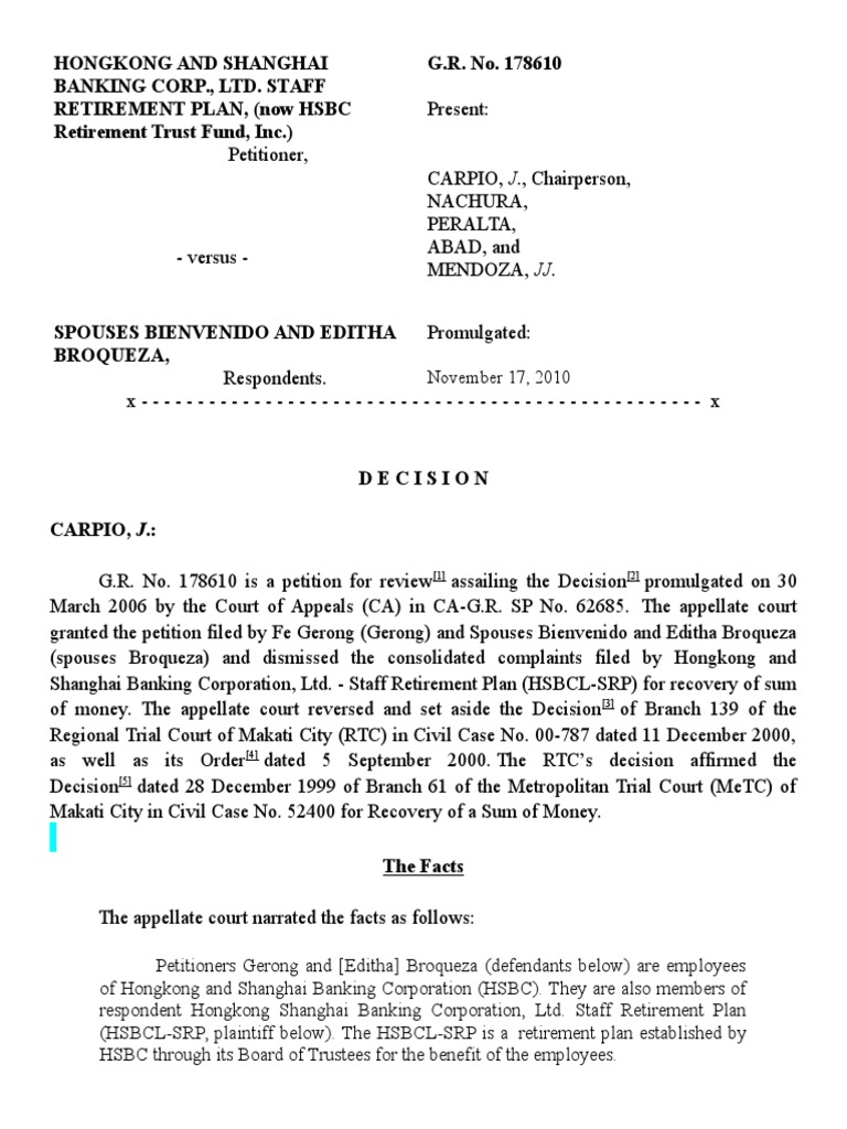 HONGKONG AND SHANGHAI Bank v Sps Broqueza docx | Lawsuit | Loans