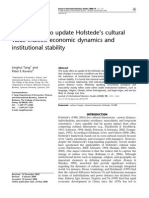 A Framework to Update Hofstede's Cultural Value Indices Economic Dynamics and Institutional Stability
