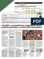 Alcaldes y Presidentes Regionales Ya No Podrán Postular a La Reelección Inmediata