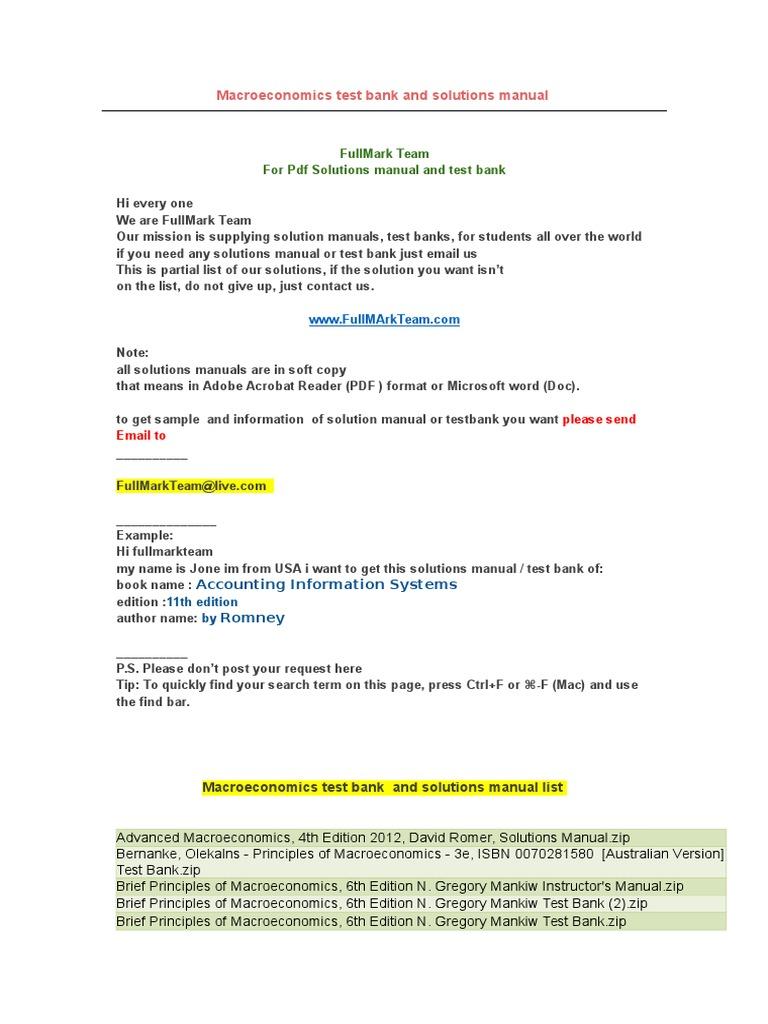 macroeconomics test bank and solutions manual macroeconomics rh scribd com Textbook Solution Manuals Test Bank Solutions Manual