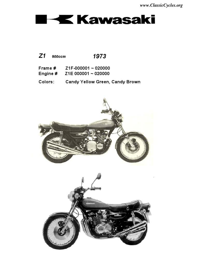 Kawasaki Z1 900 Z900 Illustrated Parts List Diagram Manual
