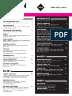 BrainDead Brewing tentative menu