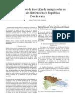 Casos practicos de insercion de energia solar en las redes de distribucion  en la republica dominicana