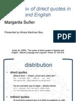 Presentation of Suñer's article