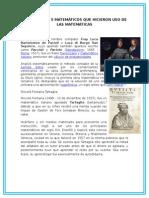 Biografía de 5 Matemáticos Que Hicieron Uso de Las Matemáticas