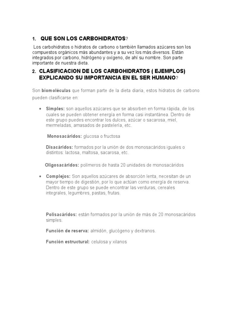 Taller El Metabolismo en Los Seres Vivos - Carbohidratos..