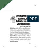Sylvio Gadelha - Governamentalidade Neoliberal, Teoria Do Capital Humano e Empreendedorismo