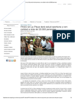 PASO en La Playa Dará Salud Oportuna y Con Calidad a Más de 20