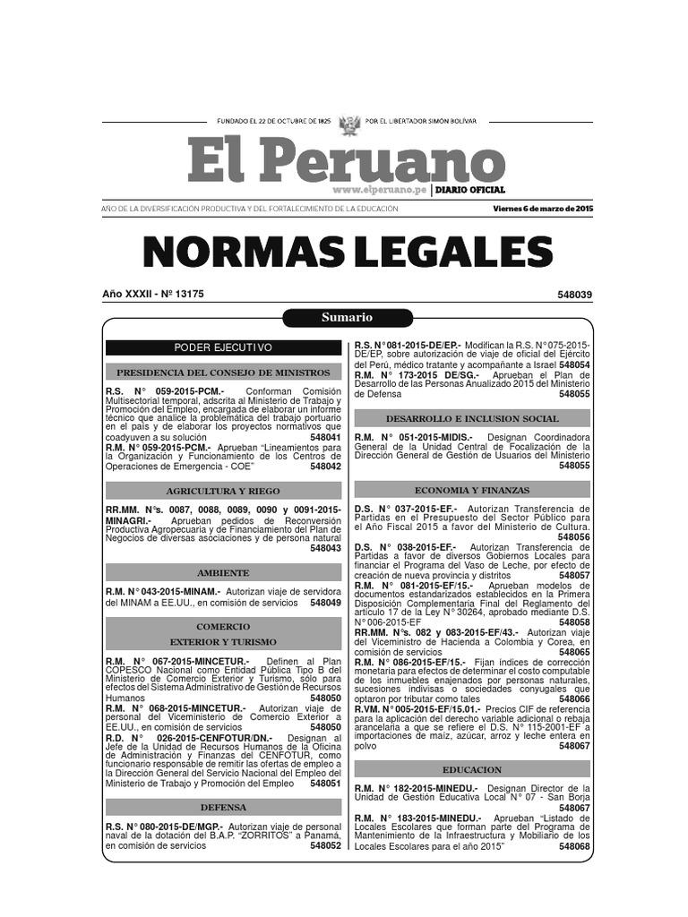 Normas Legales 06-03-2015 [TodoDocumentos.info]