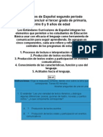 Estandares Español Segundo Periodo