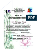 Certificate of Recognition Feb. 2015