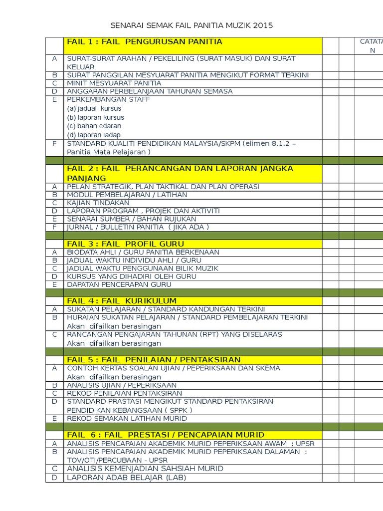 Senarai Semak Fail Panitia Muzik 2015
