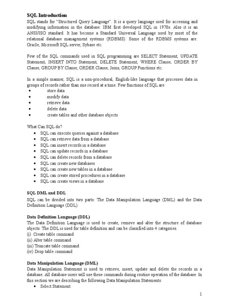 SQL Chapter 3 | Sql | Databases