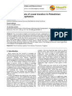 Acoustical Analysis of Vowel Duration in Palestinian Arab Speakers - 2014
