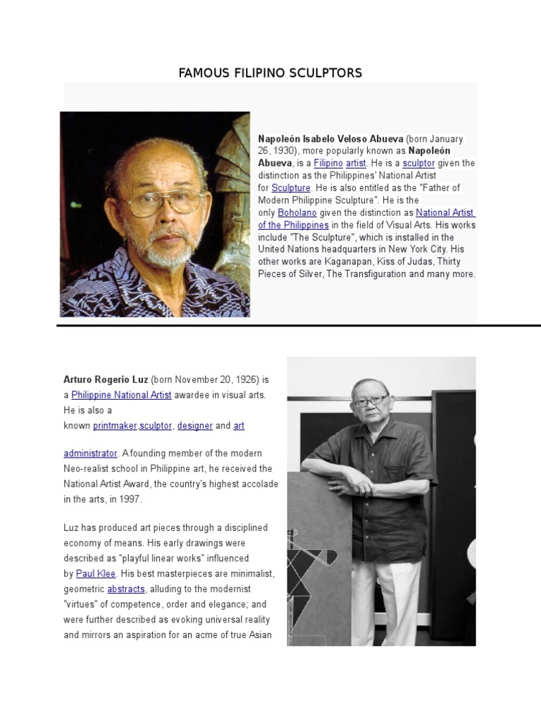 Famous filipino sculptors manila philippines