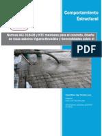 Mapas resumen de Norma ACI 318-08 y NTC-Mexicana para construcciones de concreto, Calculo de losa tipo Vigueta y Bovedilla y resumen sobre generalidades del concreto.