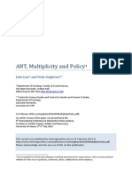 John Law. Policy, Multiplicity, ANT. 2014.