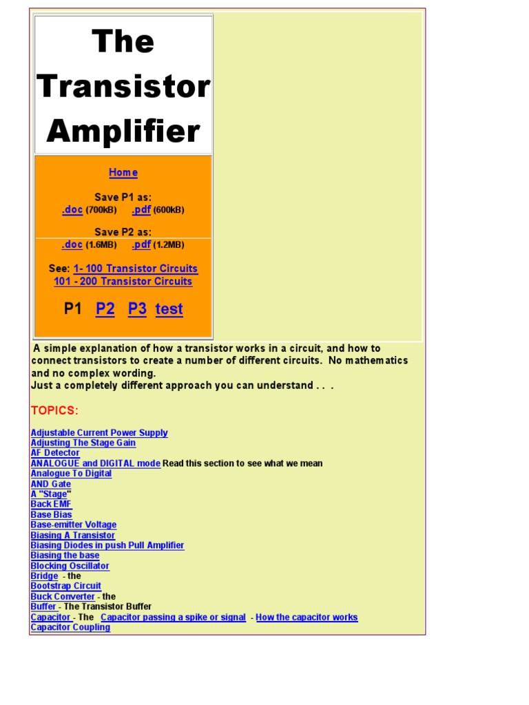 Thetransistoramplifier P1 Bipolar Junction Transistor Amplifier Simple Circuit