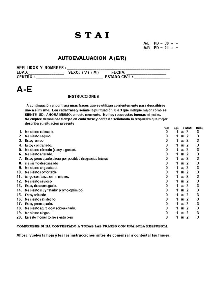 Stai Cuestionario De Ansiedad Estado-rasgo Pdf