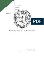 Procedimientos y Tecnicas Para Toma Fisica de Inventario Nia 230, 330, 500, 505 y 530
