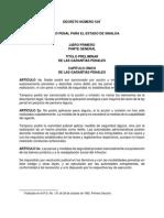 Codigo Penal Para El Estado de Sinaloa