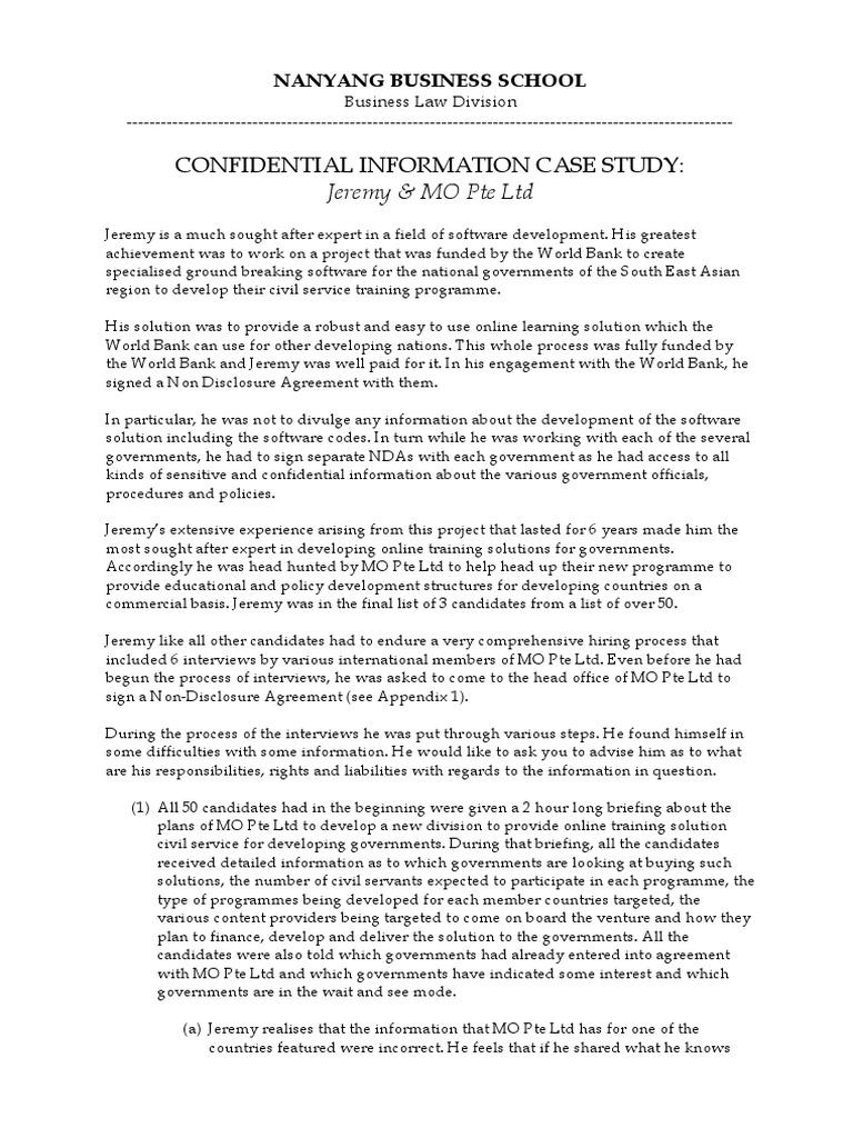Confidential Information Case Study2 Non Disclosure