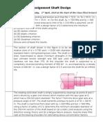 Assignment Shaft Design