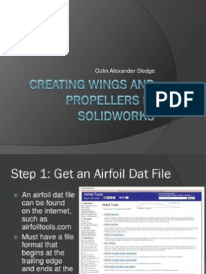 Creating Wings and Propellers in Solidworks | Text File | Blade
