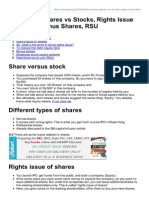 Shares vs Stocks Rights Issue of Shares Bonus Shares RSU