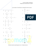 Fractions Addition Subtraction Multiplication and Division of Fractions Worksheet Grade 5