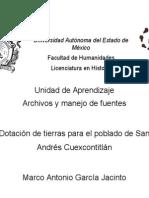 Dotación de Tierras Ejidales Para El Poblado de San Andrés Cuexcontitlán