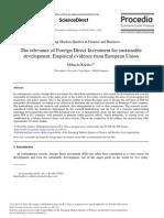 Relevance FDI for Sustainable Development
