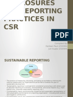 CSR - Reporting and Disclosure Practices
