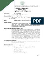 Adaptive Control Course Outline - Spring 2015 Hamdard