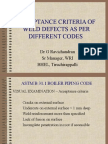Acceptance Criteria of Weld Defects as Per Different Codes