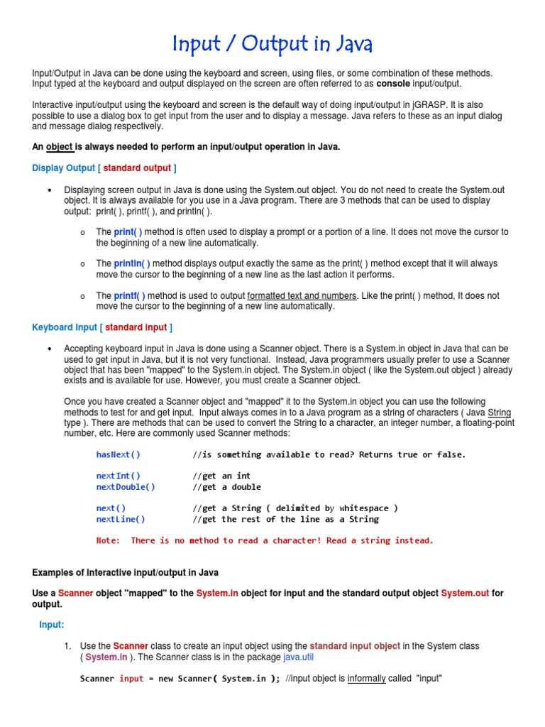Input Output in Java | Java (Programming Language) | Input/Output