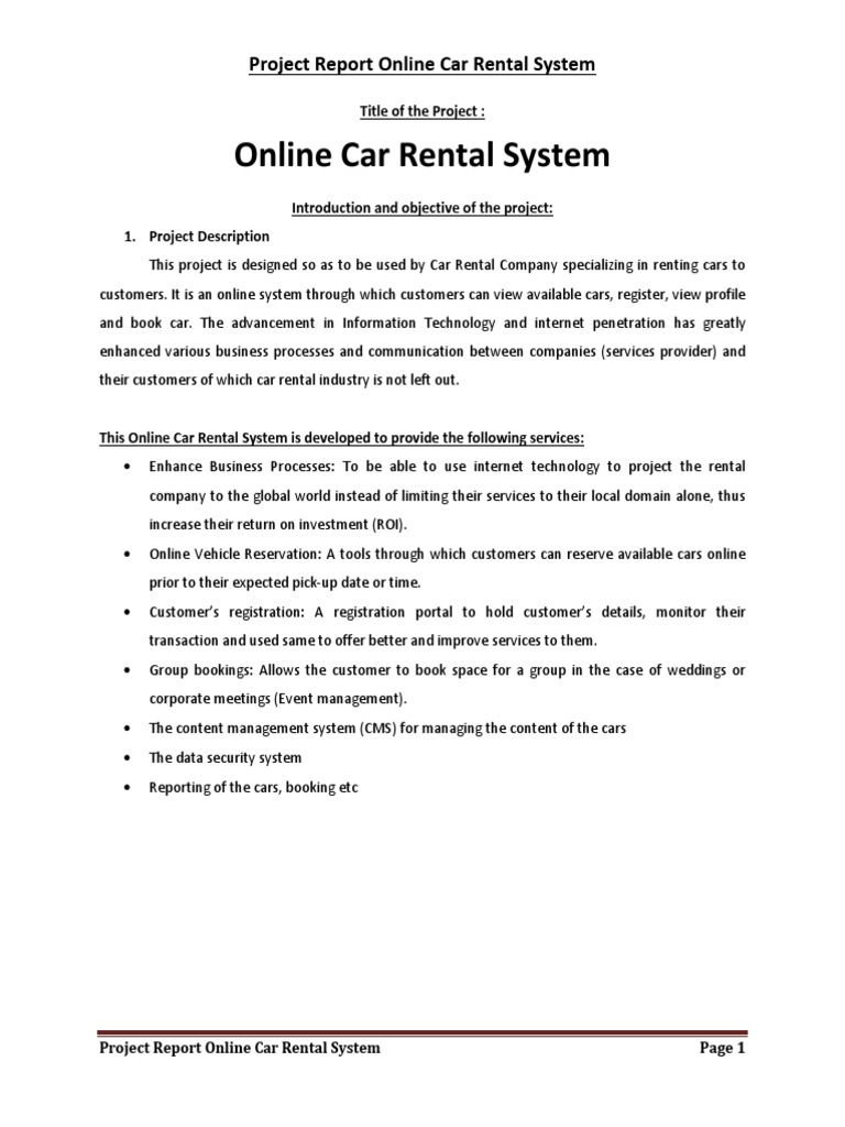 Car Rental System Project Report In Php