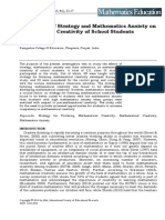 The Effects of Strategy and Mathematics Anxiety on Mathematical Creativity of School Students