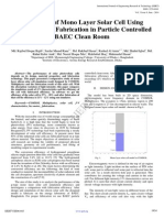 Simulation of Mono Layer Solar Cell Using COMSOL and Fabrication in Particle Controlled BAEC Clean Room