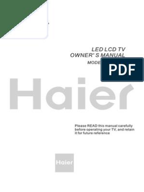 Haier Tv Manual LE32B50   Hdmi   Video