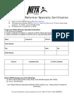 NETA Pilates Reformer Info Sheet