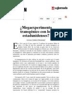 La Jornada- ¿Megaexperimento Transgénico Con Los Estadunidenses
