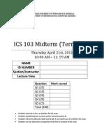 Ics-103 Midterm Key Solution