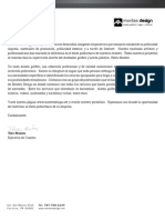 Carta de presentación de servicios de Montes Design