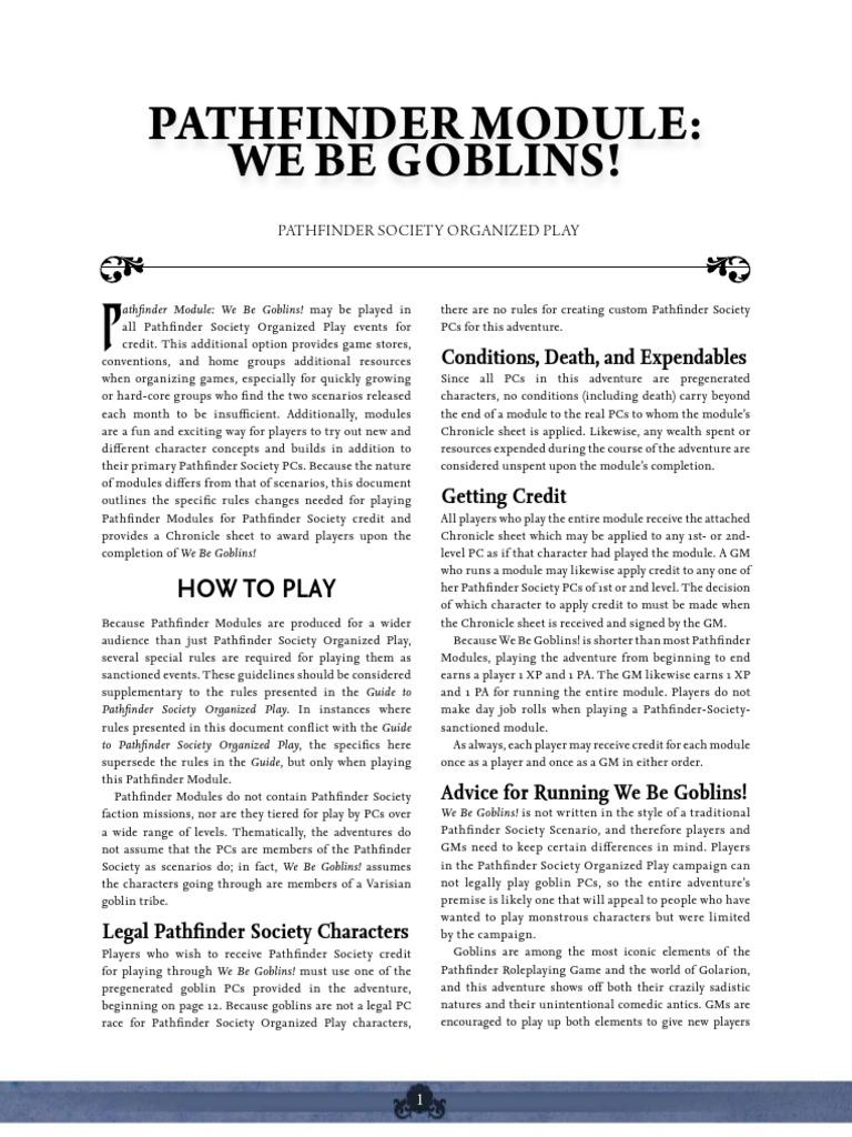 Be pathfinder goblins pdf we