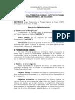 Lineamientos Para Presentación de Los Anteproyectos Del Trabajo Especial de Grado
