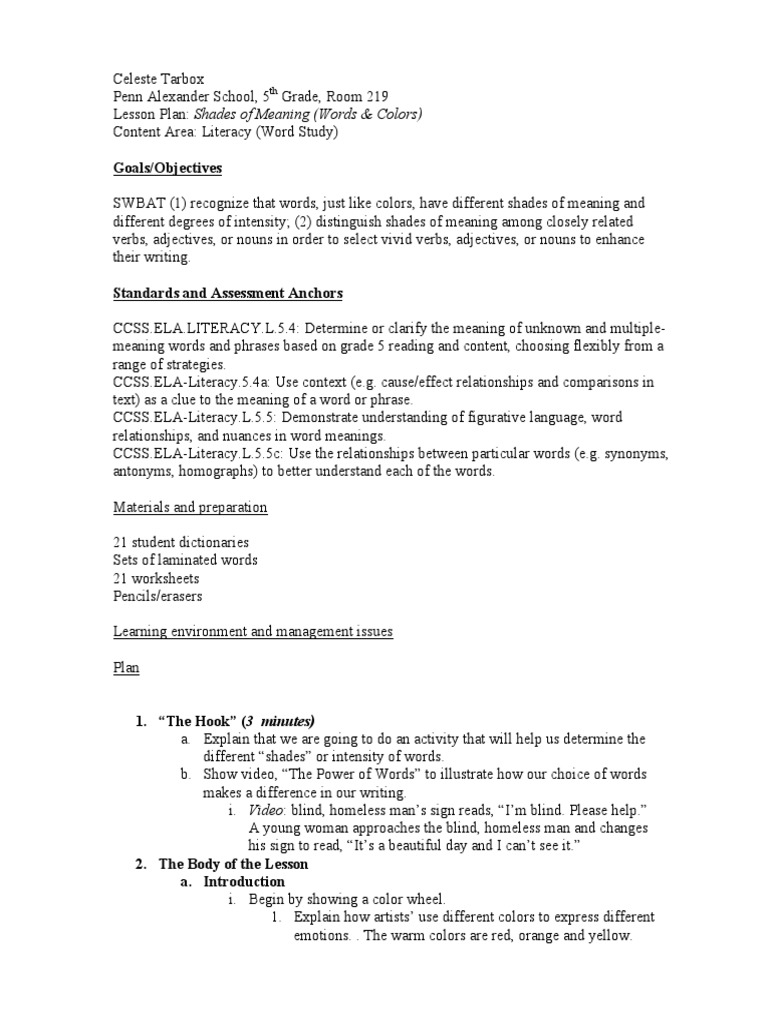 worksheet Shades Of Meaning Worksheets lesson plan shades of meaning color