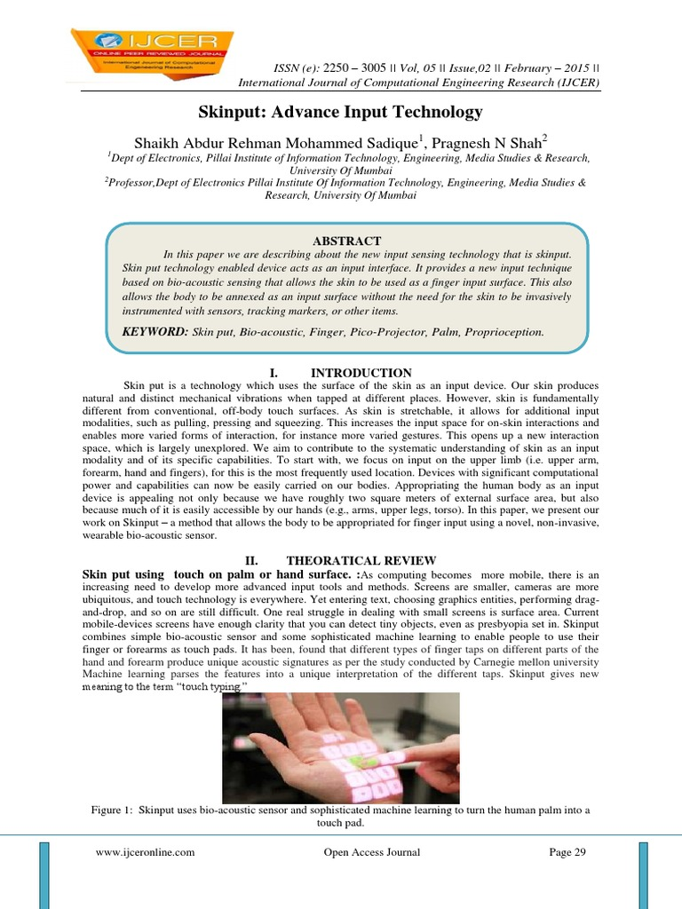 research paper on skinput